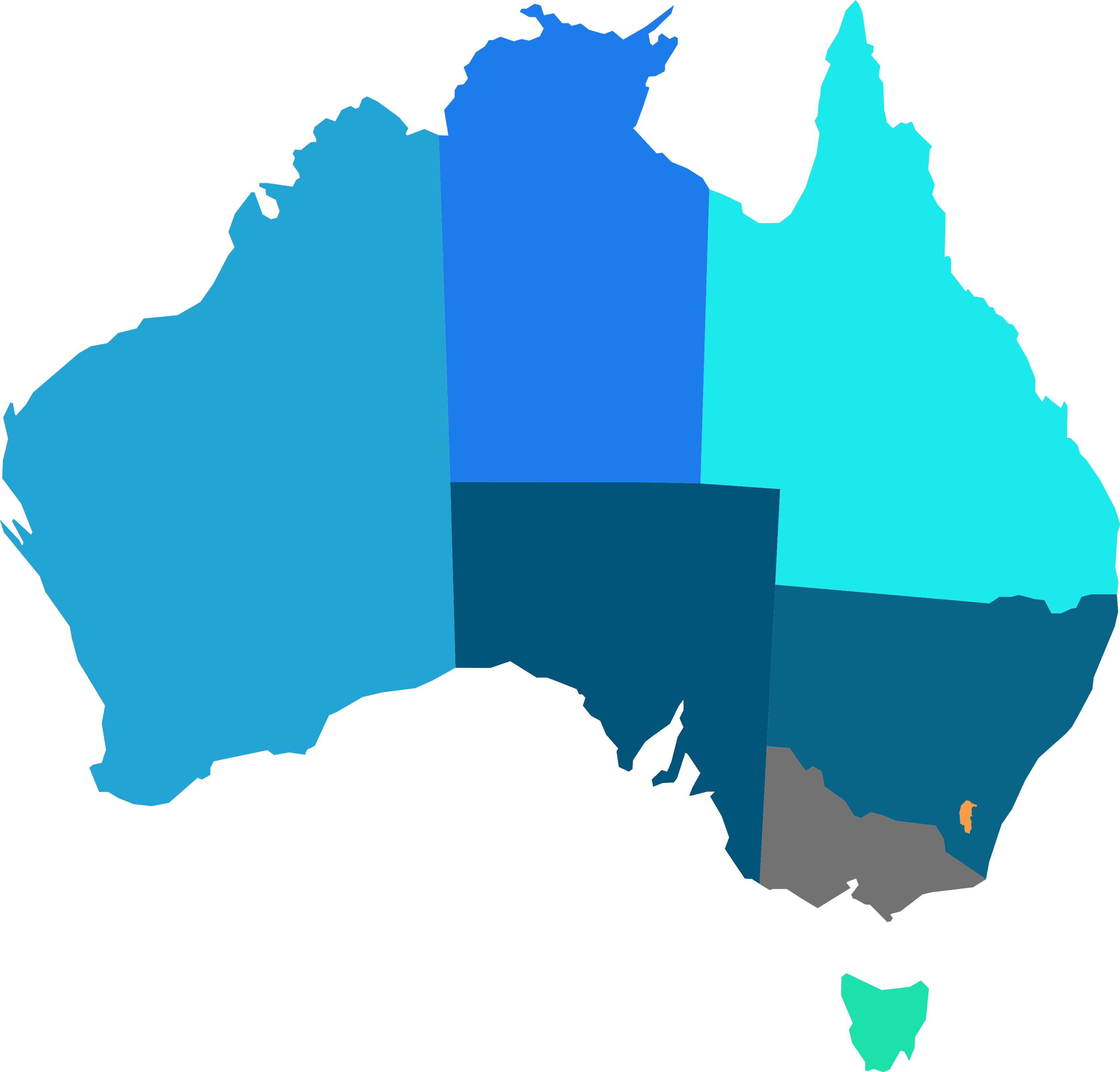 Australia Map Looks Like A Dog.Choose A State